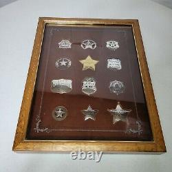 Sterling Silver Official Badges Of Great Western Lawmen Franklin Mint 12 Badges