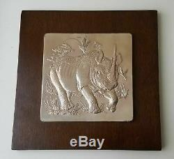 Sterling Silver Wall Sculpture The Lords of the Serengeti by Franklin Mint AG