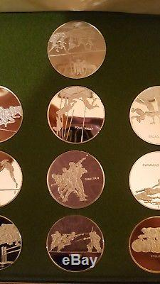 THE FRANKLIN MINT XX OLYMPICS MUNICH 1972 STERLING SILVER PROOF SET Case/ COA