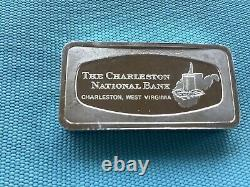 The Franklin Mint Solid Sterling Silver West Virginia Bank Bar 2.33 Oz