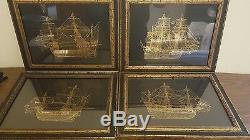 The Golden Hind Pure Gold on Sterling Silver Silhouette Trinidad, Endeavour Bark