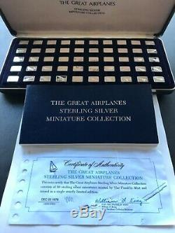 The Great Airplaines Sterling Silver Miniature Ingot Franklin Mint 50 pc. Set