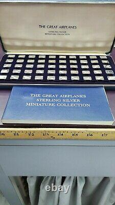 The Great Airplanes Franklin Mint 50 Bars Sterling Silver Ingot Set 6 Oz