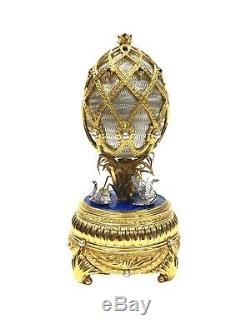 The House Of Faberge Musical Swan Lake Egg Sterling Silver & Gold Franklin Mint