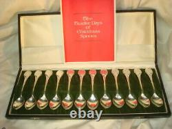 Twelve Days of Christmas Sterling Silver Spoons Set with Box Franklin Mint 1972