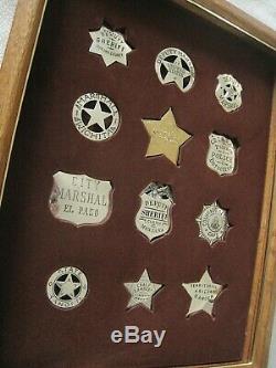 VINTAGE Case 80's Issue FRANKLIN MINT 12 Sterling Silver WESTERN LAWMAN Badges