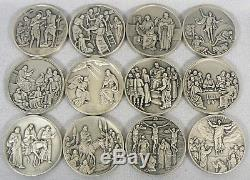 VITA CHRISTI Franklin Mint Sterling Silver Medal Set LIFE OF CHRIST Bible Story