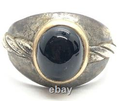 Vintage 14k Gold and Sterling Silver Ring 925 Size 13 Mens Black Onyx Signet