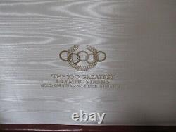 Vintage Franklin Mint 100 Greatest Olympic Stamps Gold on Silver withcase Rare