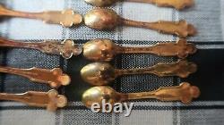 Vintage Franklin Mint Jesus Christ 12 Disciples Gold Over Sterling Silver Spoons