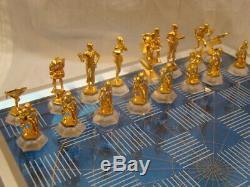 Vintage Franklin Mint Star Trek Chess Set 25th Anniversary Silver Blue Game 1989