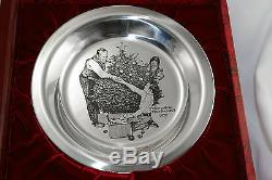 Vintage Franklin Mint Sterling Silver Norman Rockwell Christmas 1973 Plate