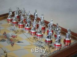 Vintage Franklin Mint Waterloo Chess Set Gold & Silver Edition+orig Board 1987