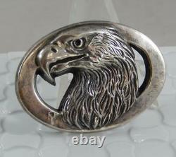 Vintage Gilroy Roberts Sterling Silver American Eagle Head Belt Buckle M0262