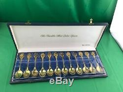 Vintage Gold Vermeil Over Sterling Silver 925 Franklin Mint Zodiac Spoons In Box