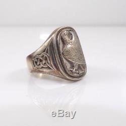 Vintage Sterling Silver Georg Jensen Eagle Mens Franklin Mint Ring Size 9 LDD10