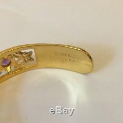 Vtg Franklin Mint 89 Sterling SIlver Amethyst Heart Butterfly Gilt Cuff Bracelet