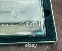 Washington Mint $100 Bill Ben Franklin Silver Proof 4 Troy Oz. 999 Silver ounce